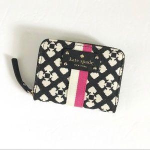 Vintage Kate Spade Black Spade Pink Stripe Wallet